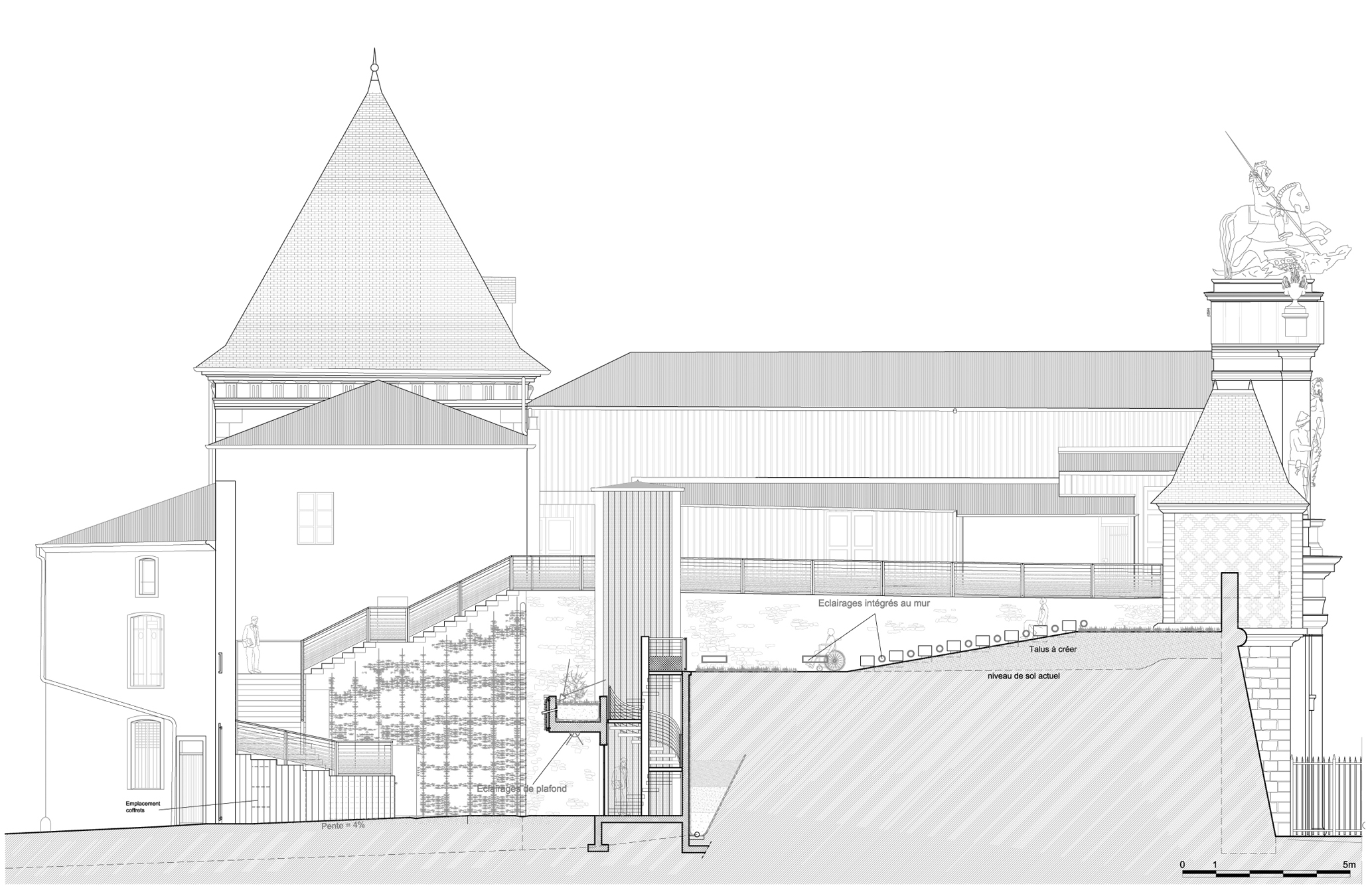 Agence Caillault ACMH – Porte St Georges, Nancy – Coupe longitudinale sur le théâtre