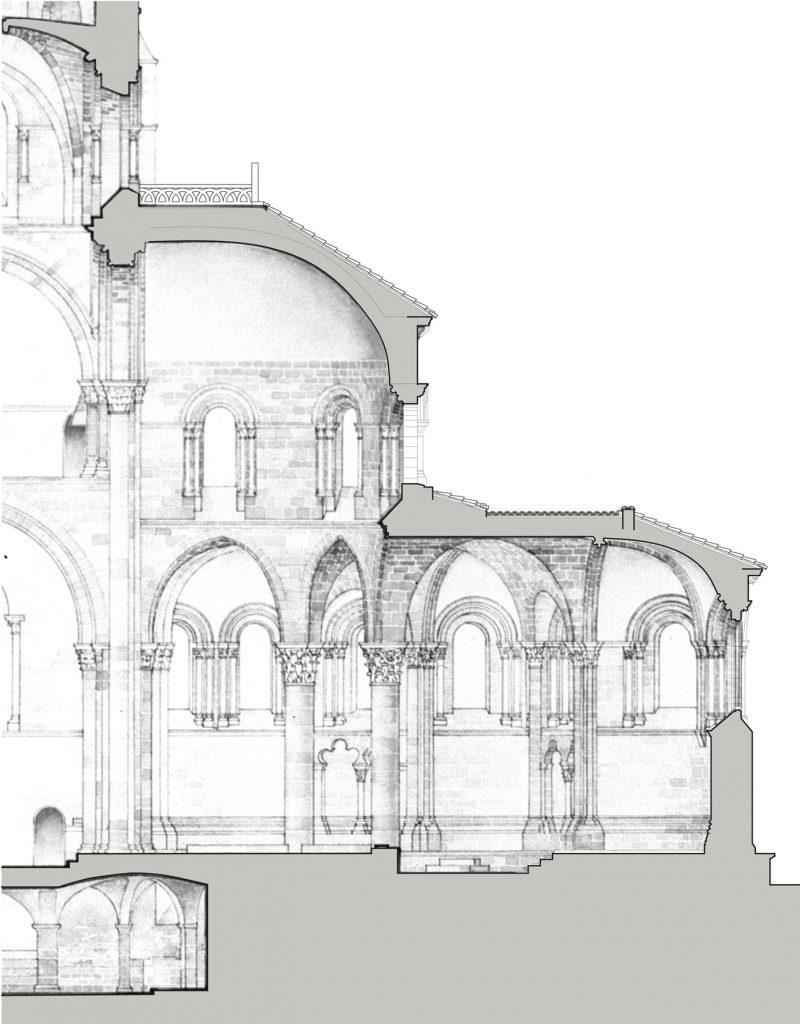 Agence Caillault ACMH – Basilique Saint-Julien de Brioude – Coupe longitudinale sur chevet