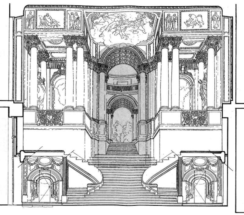 Agence Caillault ACMH – Hôtel de Ville – Nancy – Coupe de l'escalier d'Honneur