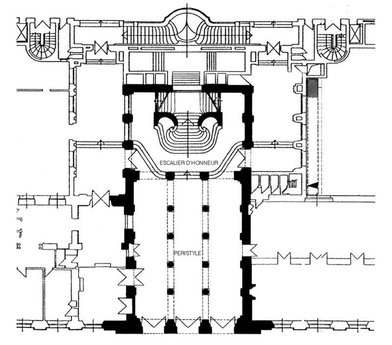 Agence Caillault ACMH – Hôtel de Ville – Nancy – Plan (en noir partie concernée par les travaux)