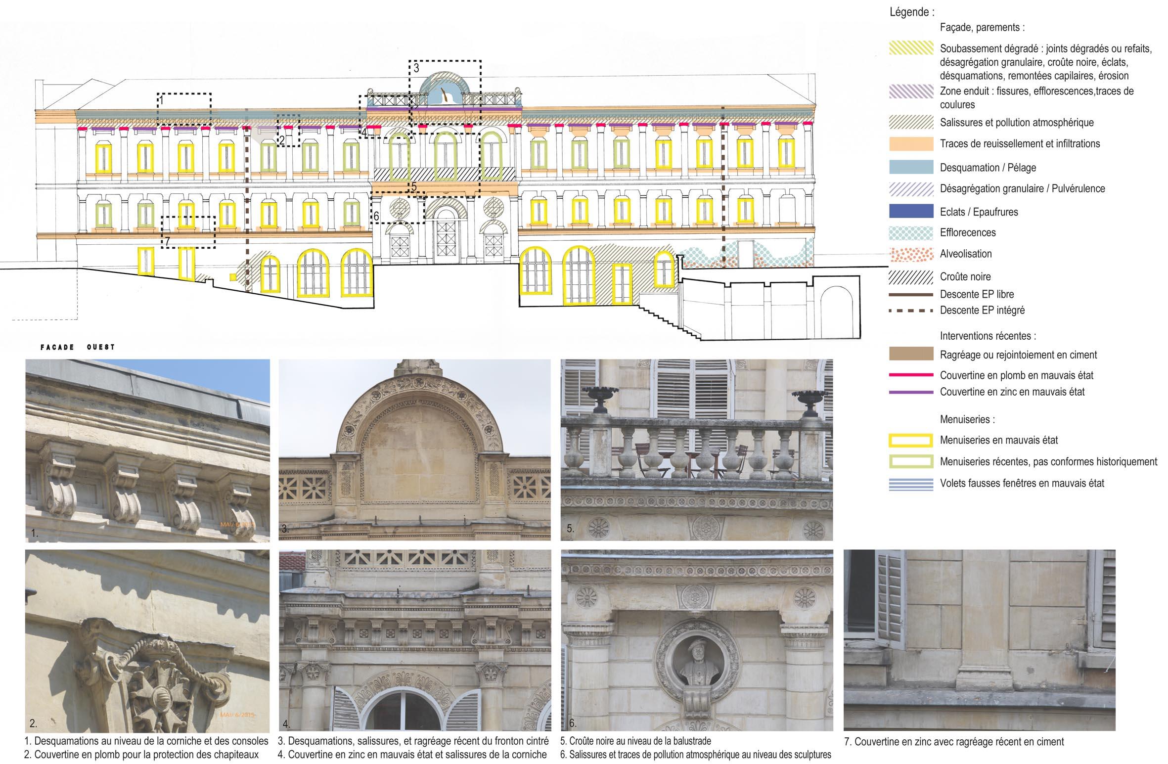 Agence Caillault ACMH – Palais de France, Istanbul – Extrait de l'état sanitaire de la façade ouest