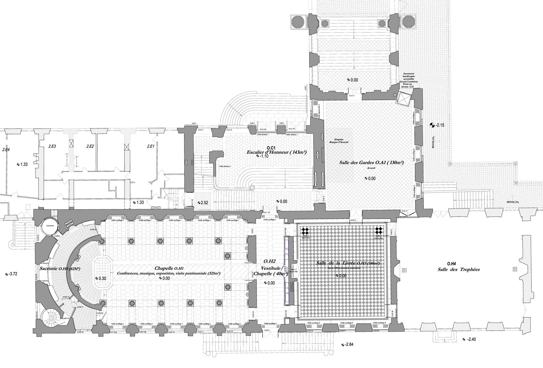 Agence Caillault ACMH – Palais ducal – Luneville – Plan de la Chapelle et des espaces adjacents