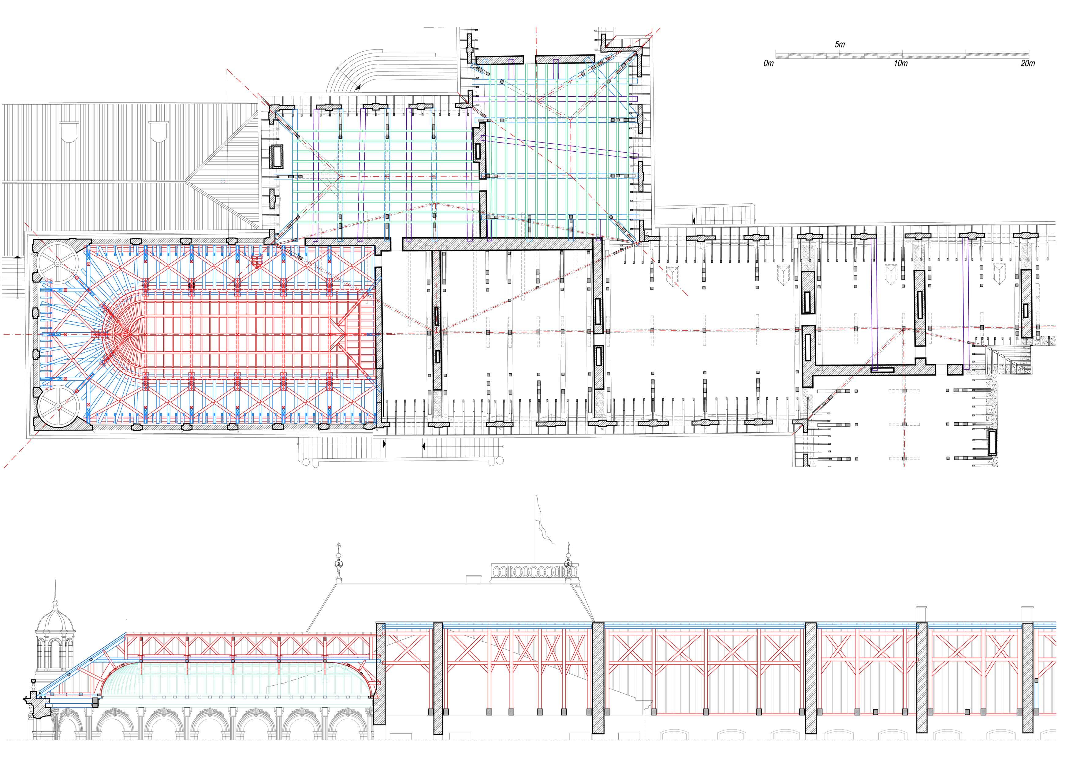 Agence Caillault ACMH – Palais ducal – Luneville – Plan et coupe de la charpente