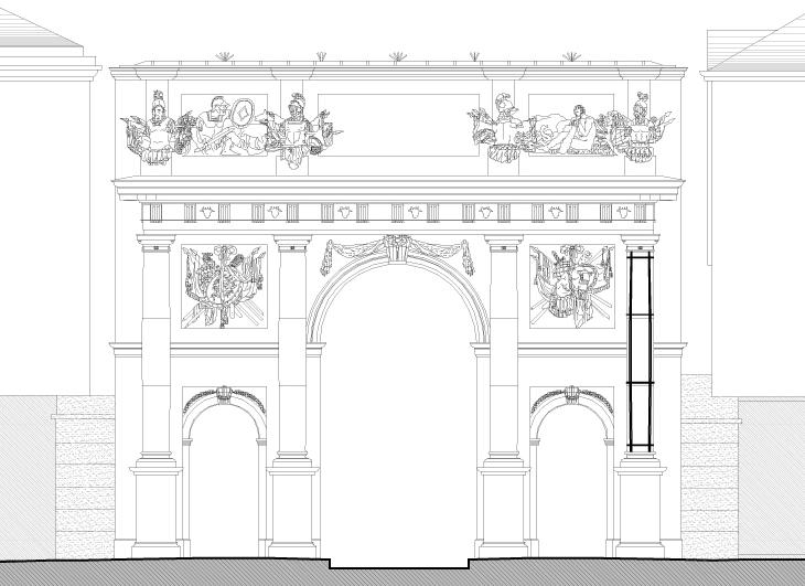 Agence Caillault ACMH – Porte Stanislas – Nancy – Elévation de la facade ouest