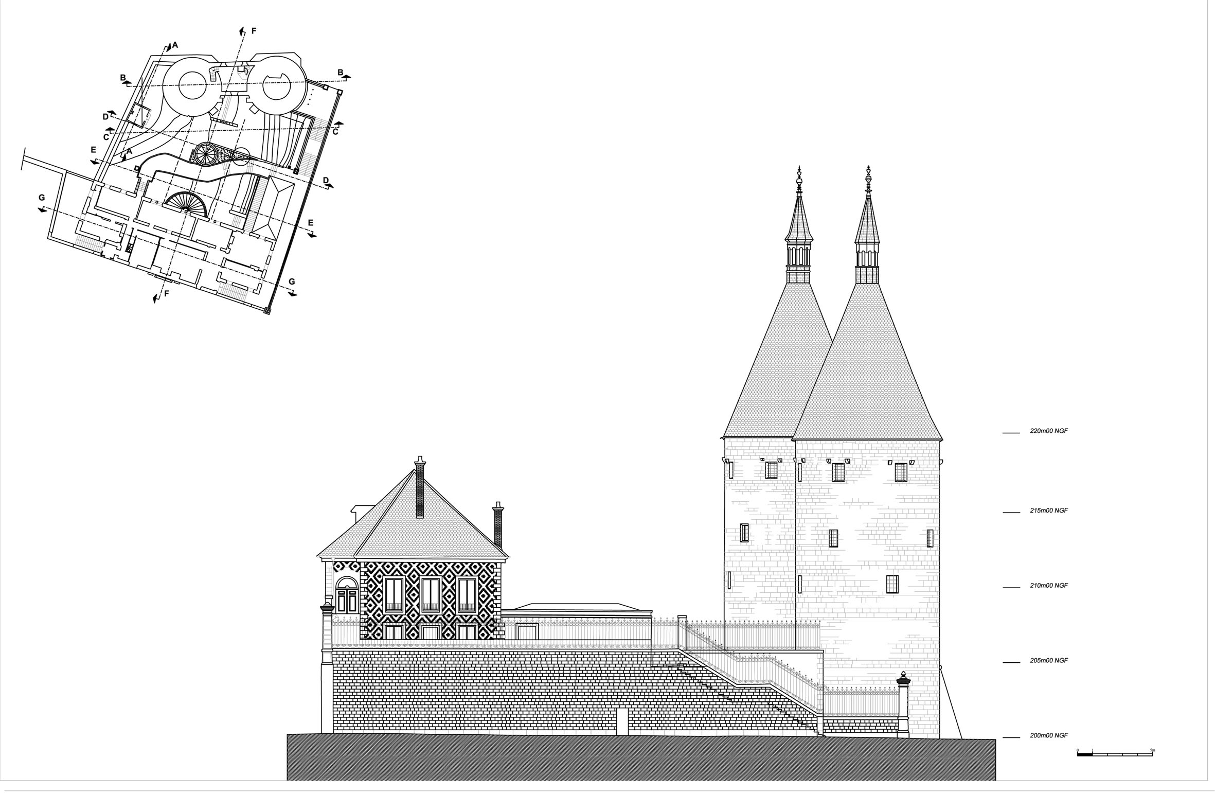 Agence Caillault ACMH – Porte de la Craffe – Nancy – Elévation de la facade sud