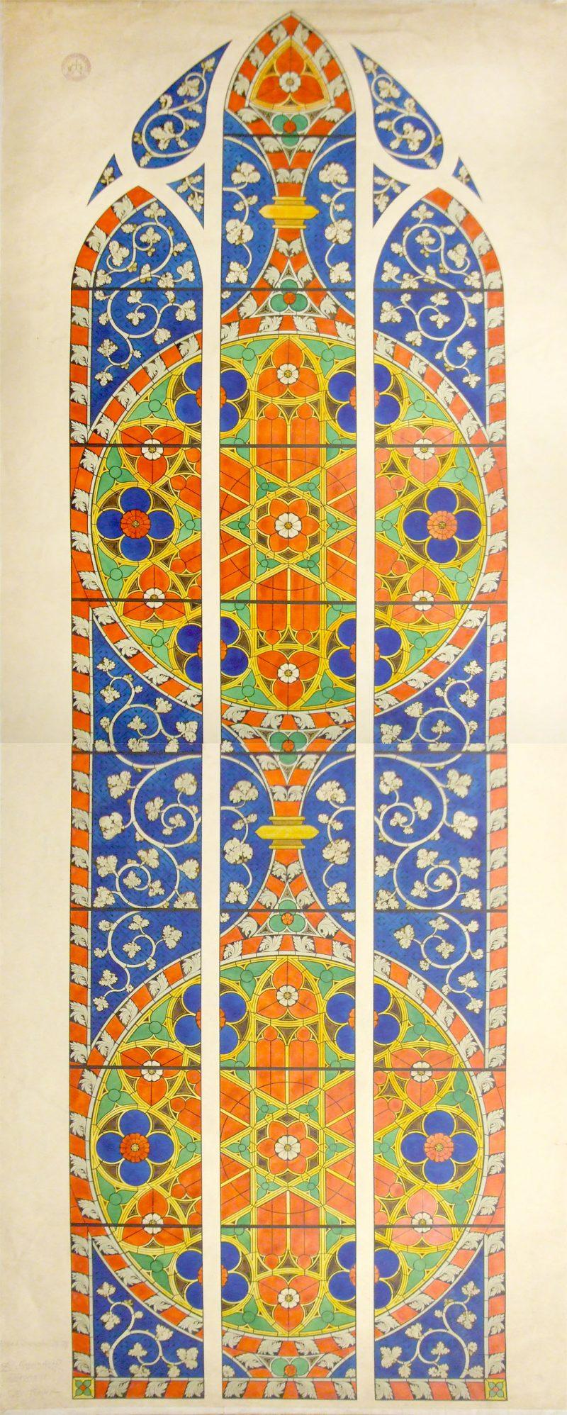 Agence Caillault ACMH – Transept sud de la Cathédrale – Strasbourg – Dessin du motif de la baie 112 (façade ouest)