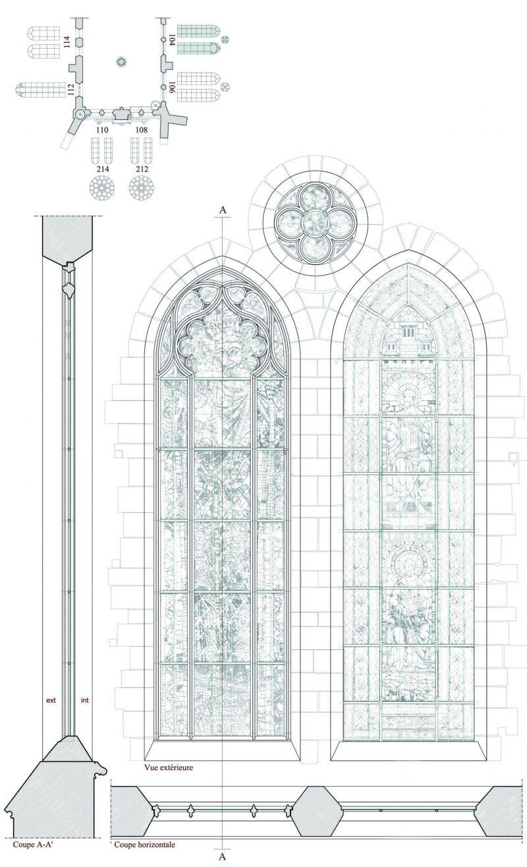 Agence Caillault ACMH – Transept sud de la Cathédrale – Strasbourg – Plan, coupe et élévation de la baie 104 ( façade est)