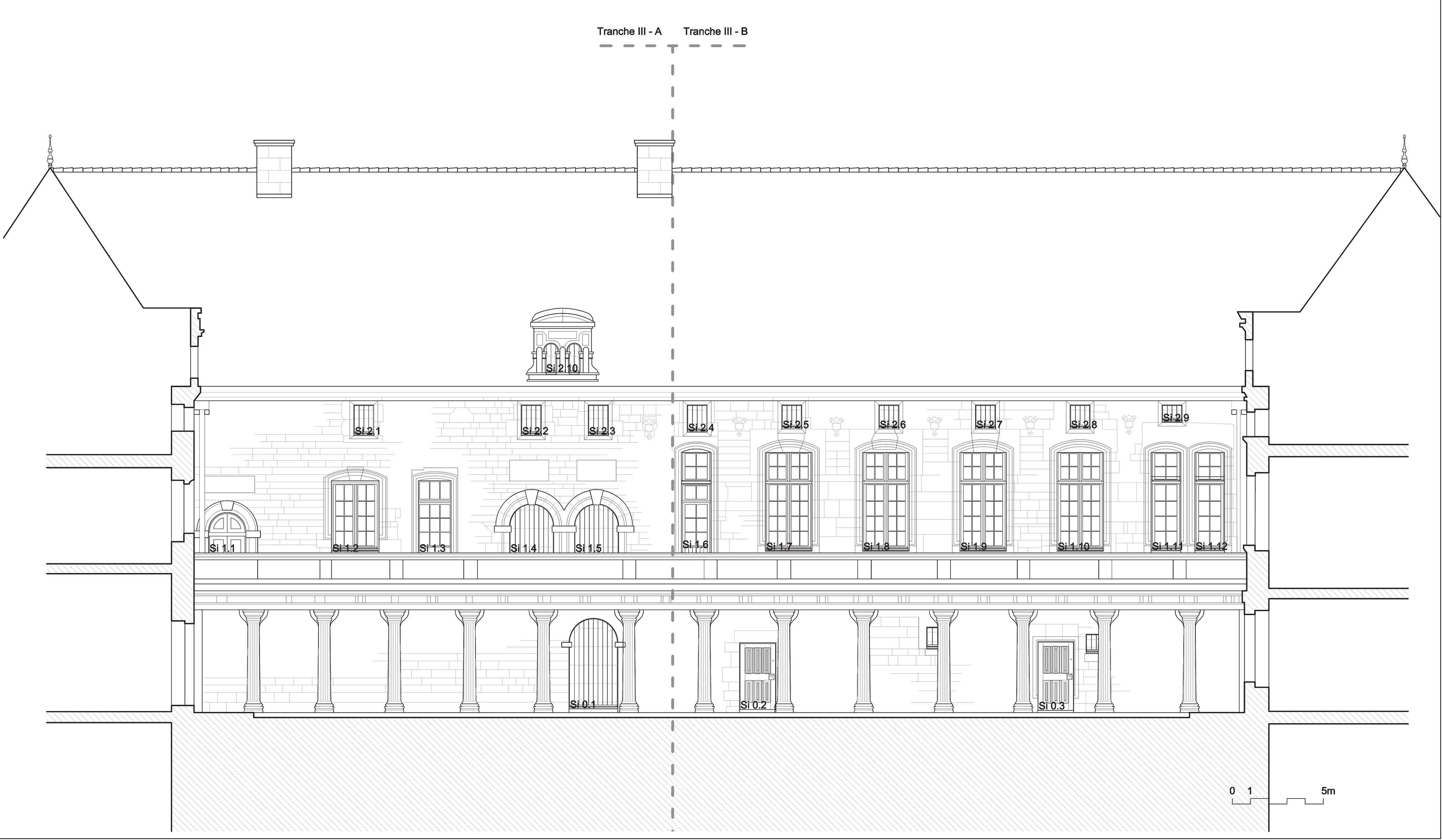Agence Caillault ACMH – Collège Gilles de Trêves – Bar-le-Duc – Elévation de l'aile intérieure sud