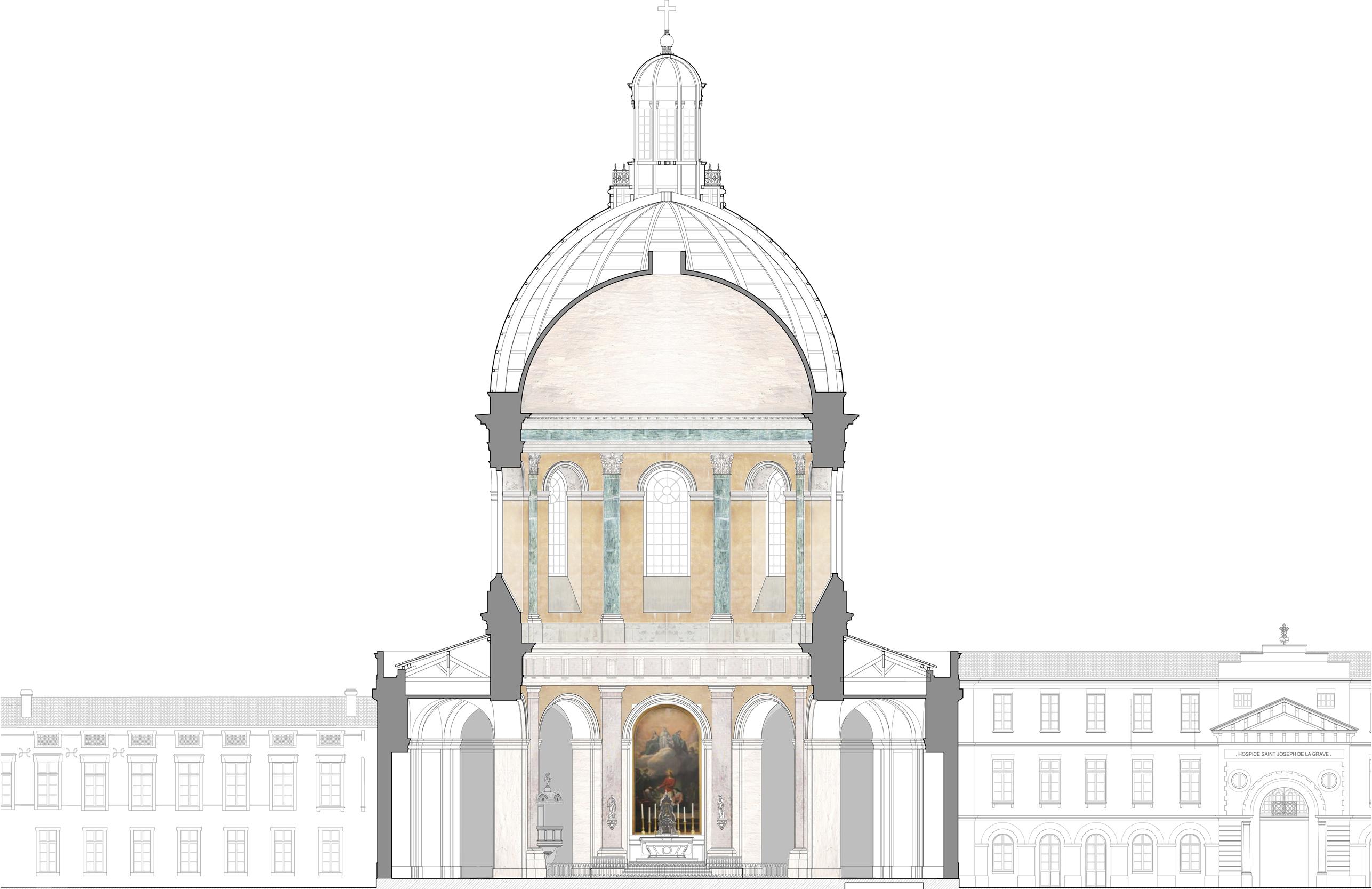 Agence Caillault ACMH – Chapelle Saint-Joseph – Toulouse – Coupe longitudinale