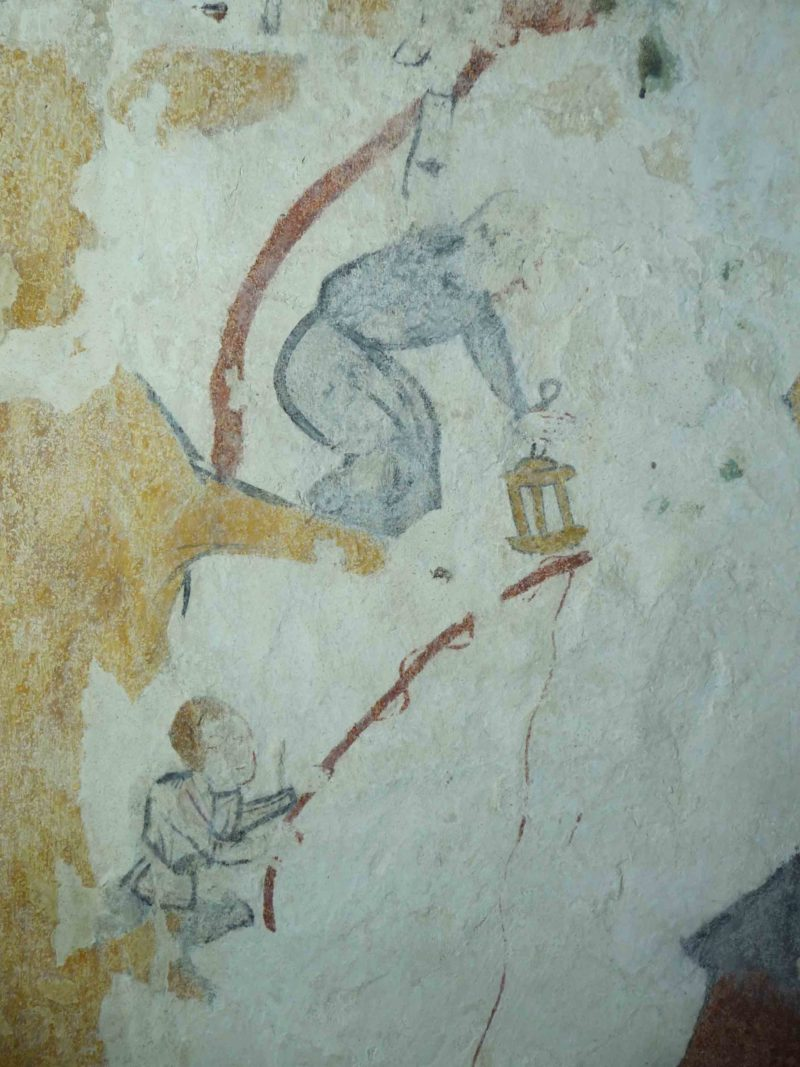 Agence Caillault ACMH – VERTUZEY – Eglise Saint-Gorgon – Détail d'un ermite tenant une lanterne et d'un pêcheur (XVe siècle)