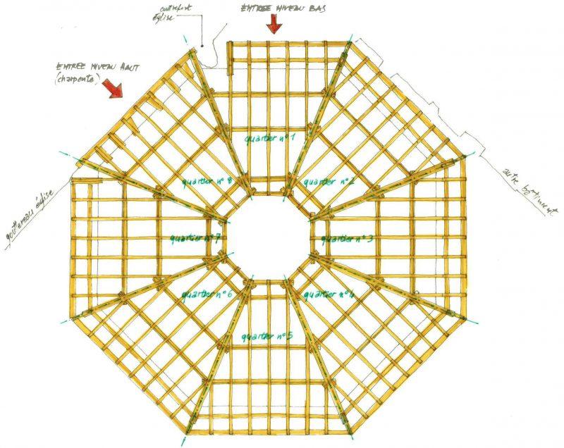 Agence Caillault ACMH – Chapelle des Cordeliers – Nancy – Plan de la charpente