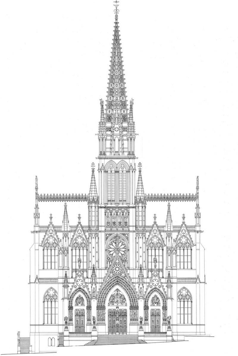 Agence Caillault ACMH – Eglise Saint Epvre – Nancy – Elévation de la façade nord