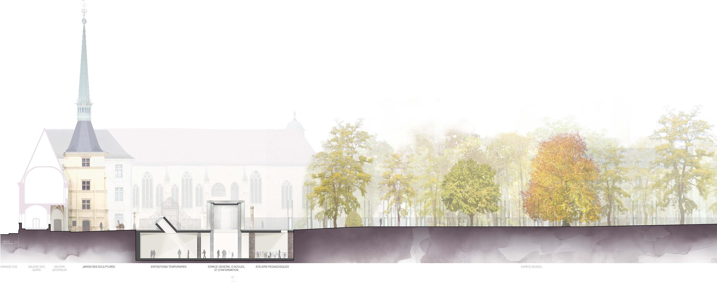 Agence Caillault ACMH -Musée lorrain – Nancy – Coupe du projet