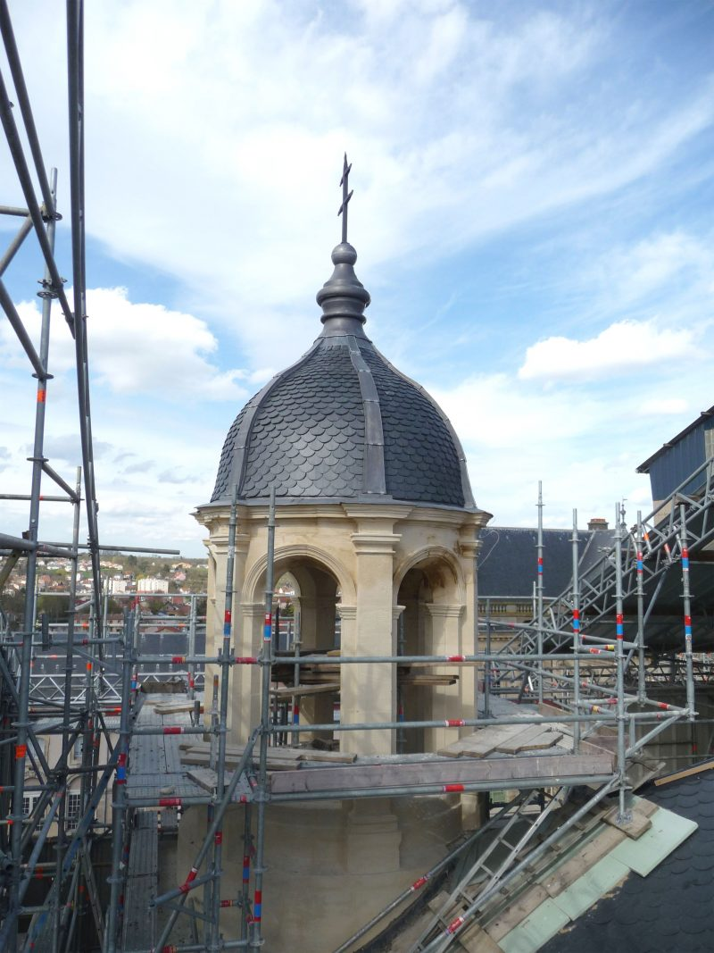 Agence Caillault ACMH – Palais ducal – Luneville – Clocher nord de la Chapelle en cours de restauration