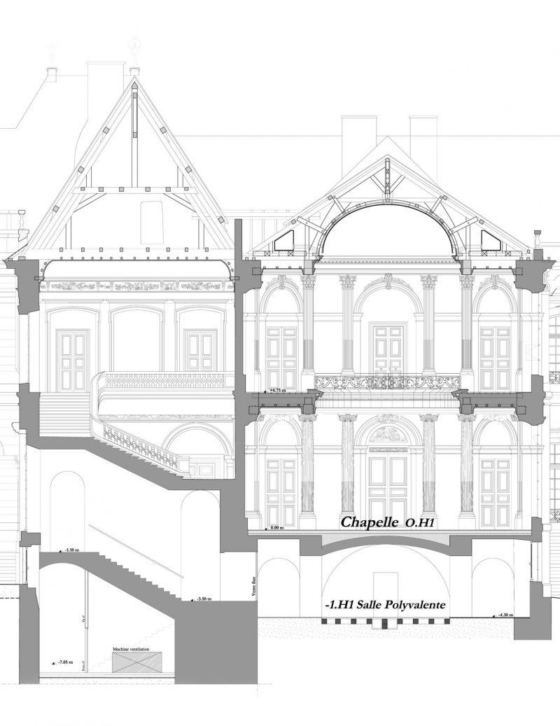 Agence Caillault ACMH – Palais ducal – Luneville – Coupe de l'Escalier d'Honneur et de la Chapelle