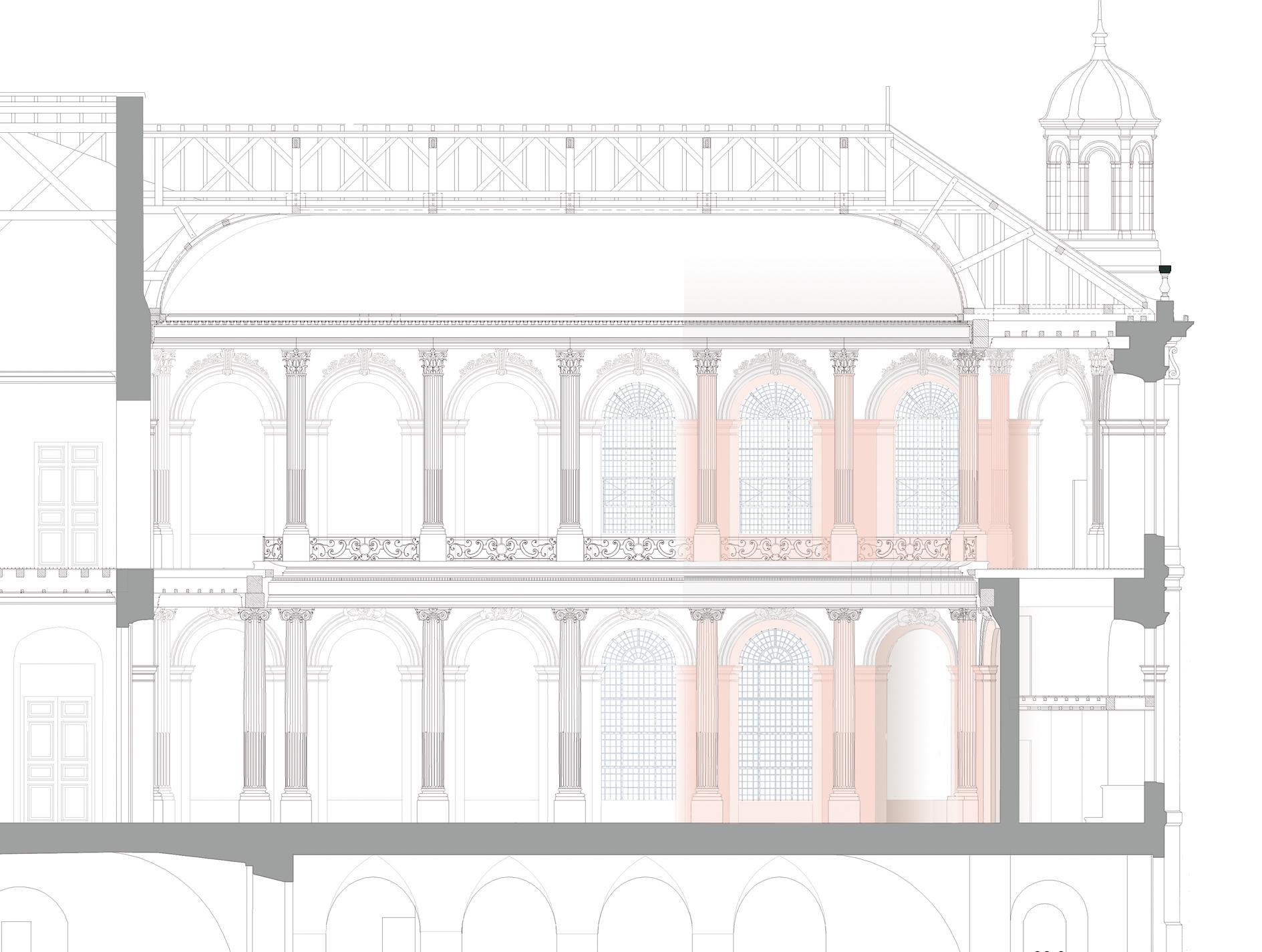 Agence Caillault ACMH – Palais ducal – Luneville – Coupe longitudinale de la Chapelle