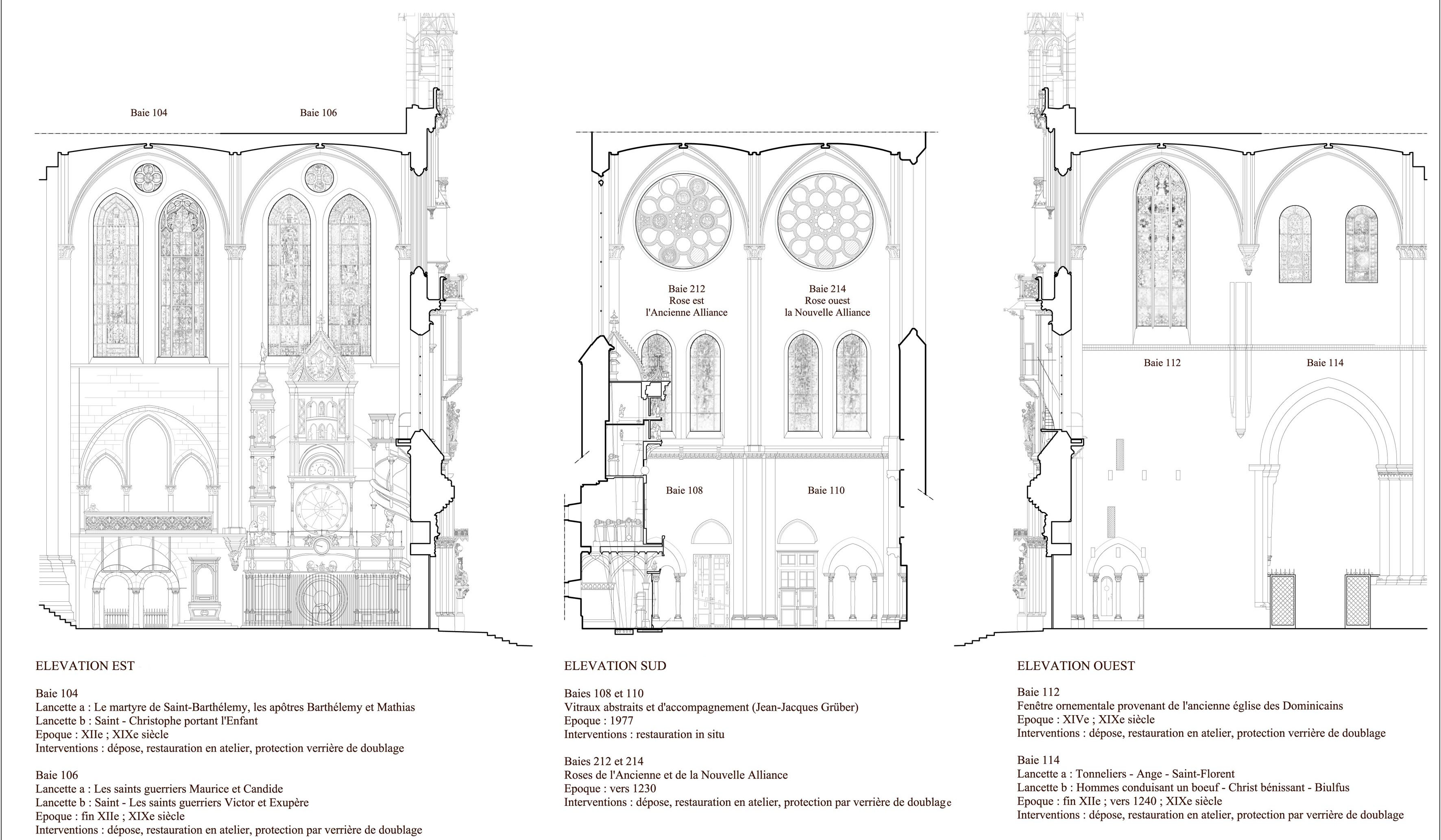 Agence Caillault ACMH – Transept sud de la Cathédrale – Strasbourg – Elévations des trois façades interieur