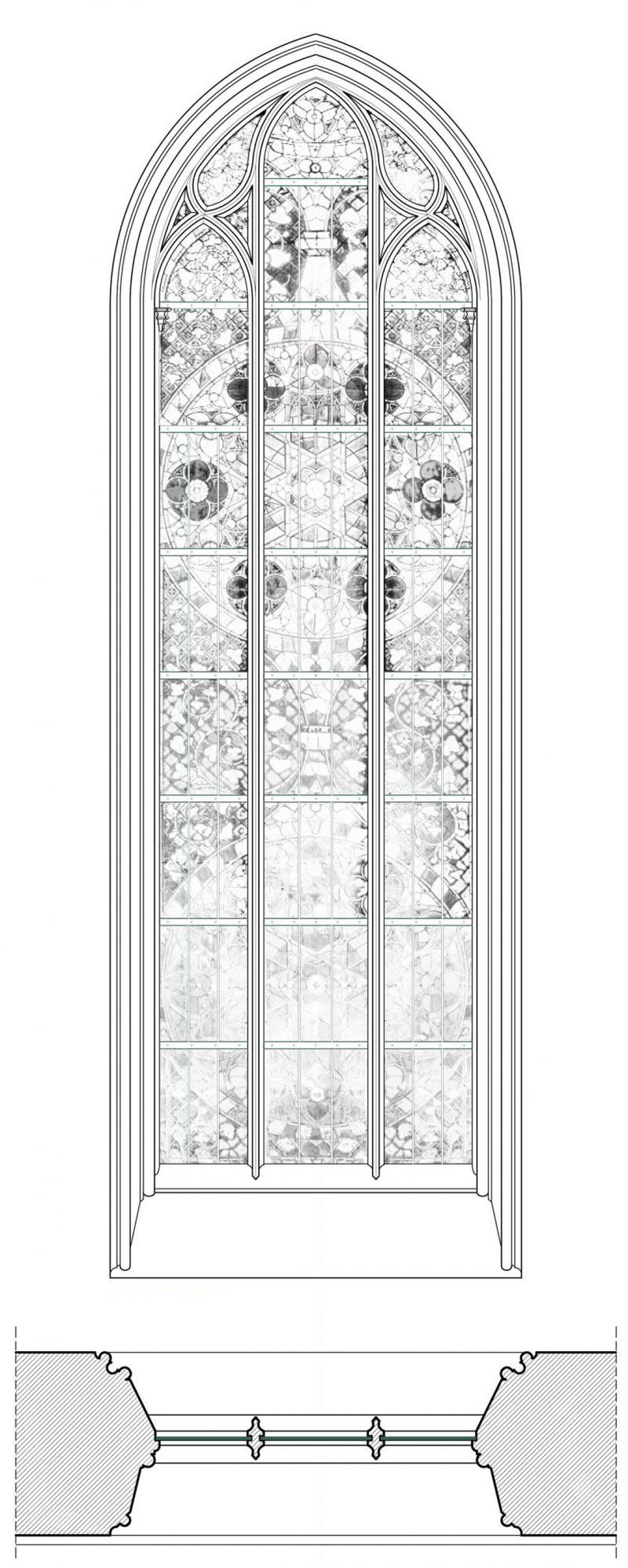 Agence Caillault ACMH – Transept sud de la Cathédrale – Strasbourg – Plan et élévation de la baie 112 (façade ouest)