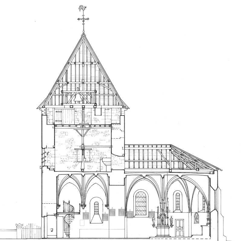Agence Caillault ACMH – VERTUZEY – Eglise Saint-Gorgon – Coupe du clocher et de la nef