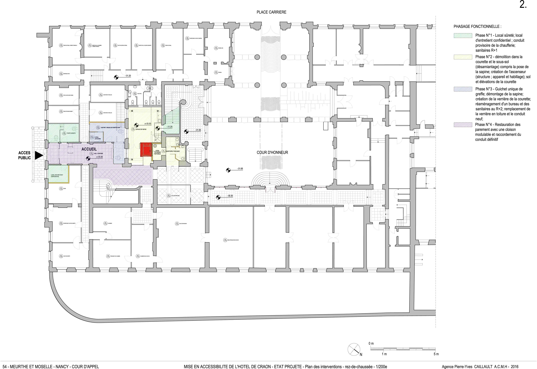 Agence Caillault ACMH – NANCY – Cour d'appel – Plan RDC, phasage du projet