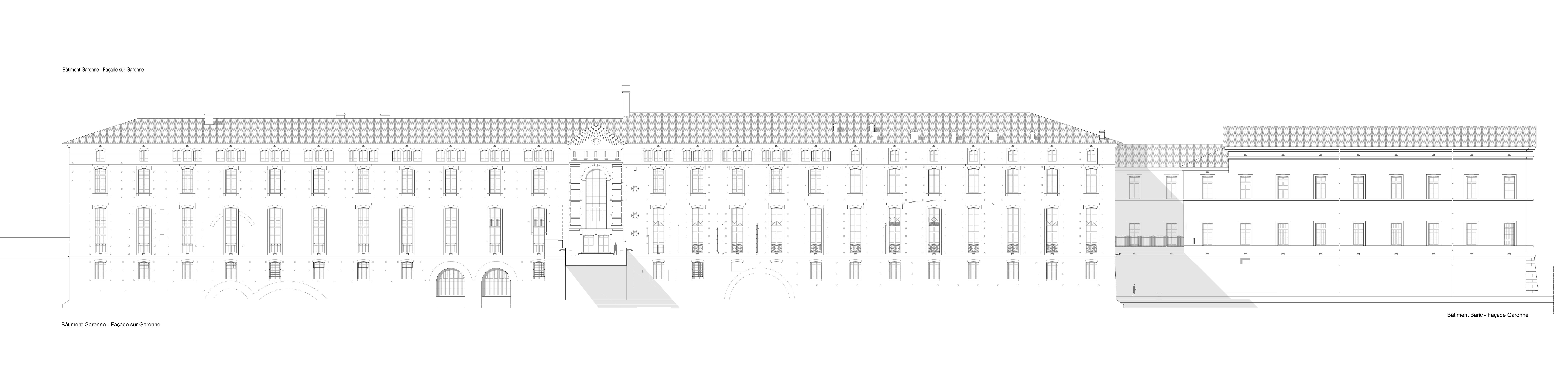 Agence Caillault ACMH – TOULOUSE – Hôtel-Dieu – Élévation de la façade sur la Garonne