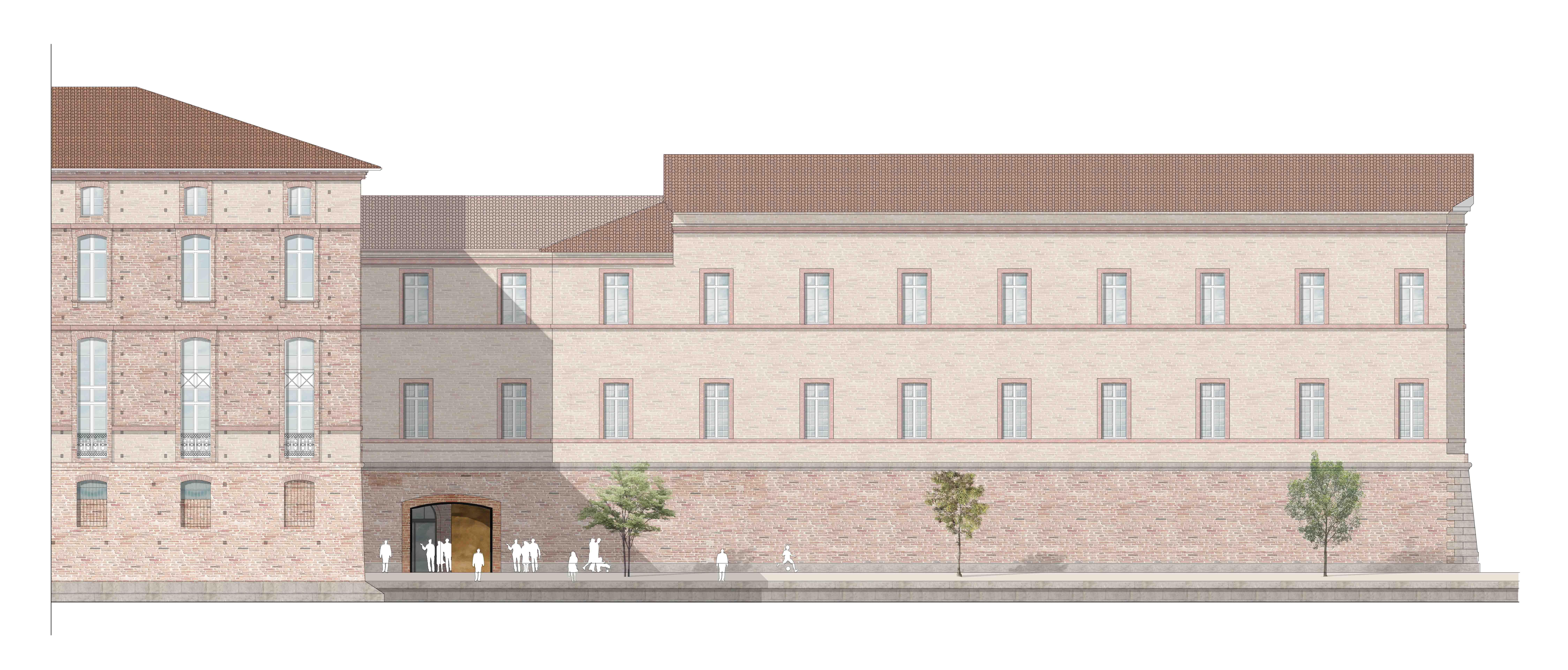 Agence Caillault ACMH – TOULOUSE – Hôtel-Dieu – Façade sur Garonne du bâtiment Baric – État projeté